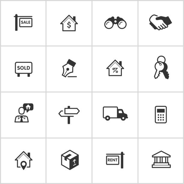 real estate icons – tintenblauen series - schlüsselkasten stock-grafiken, -clipart, -cartoons und -symbole