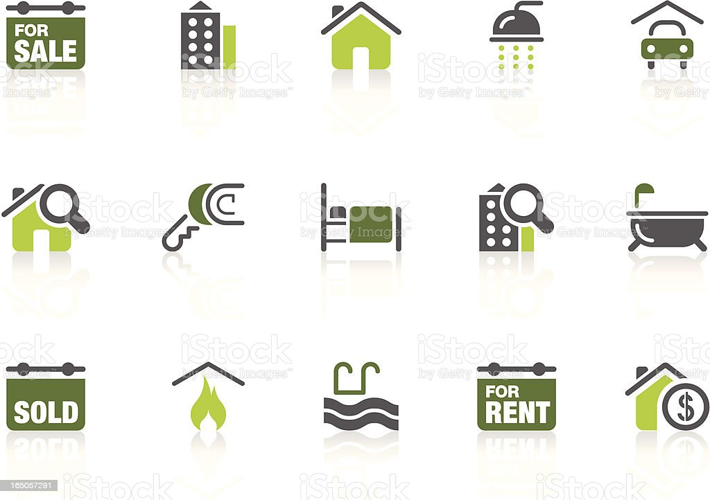 Real estate icons | lime series vector art illustration