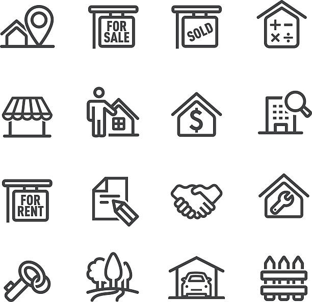 Real Estate Icons - Line Series View All: ethical consumerism stock illustrations