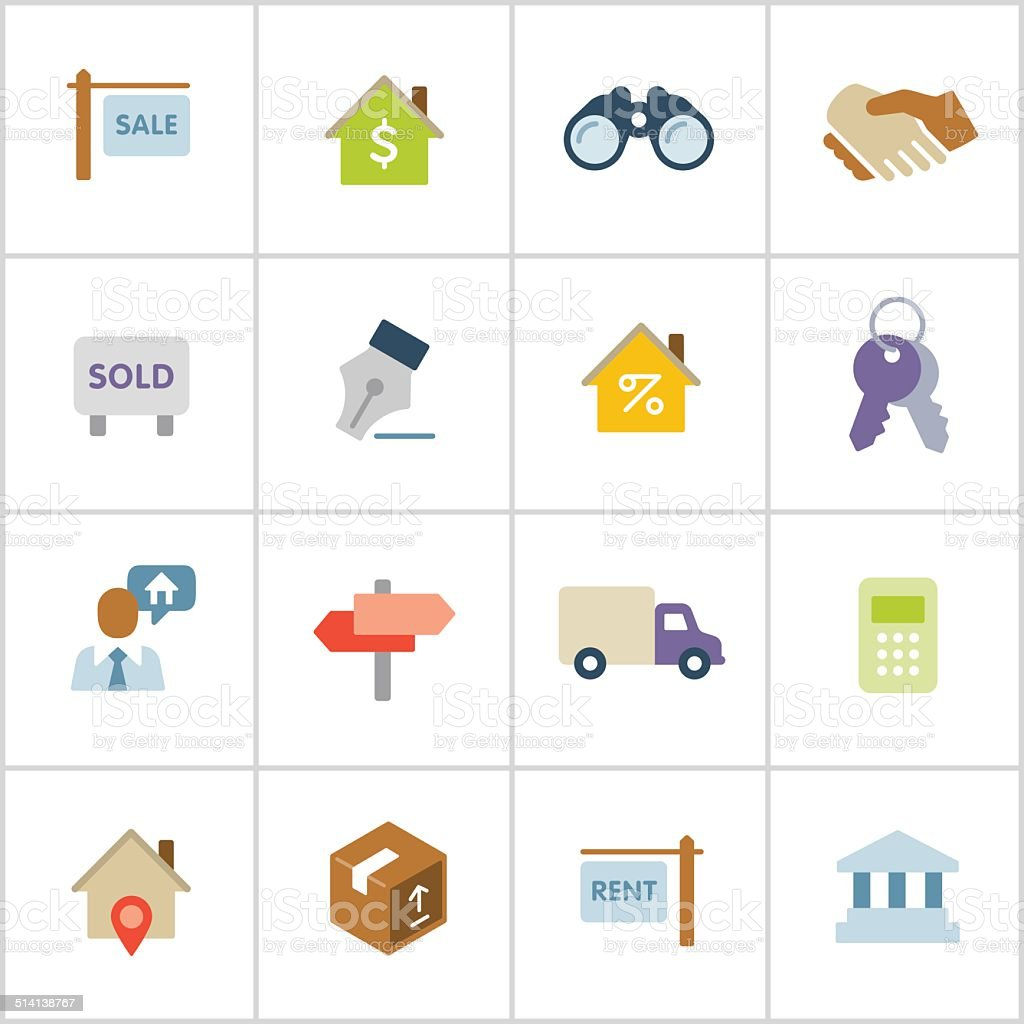 Real Estate Icons — Poly Series vector art illustration