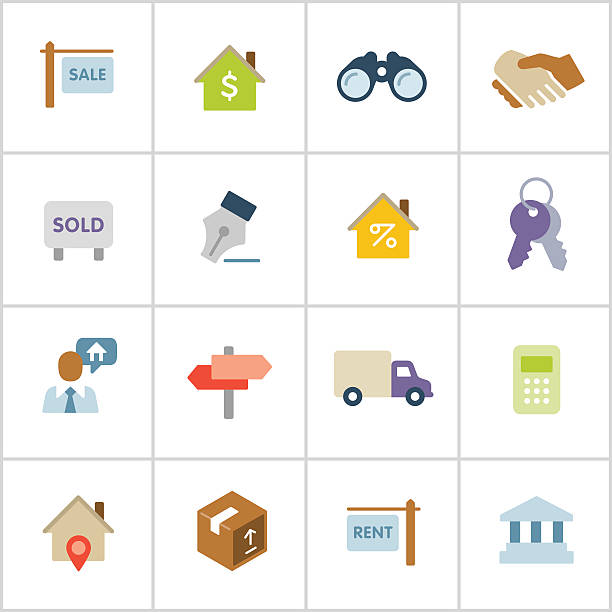 real estate icons-poly-serie - schlüsselkasten stock-grafiken, -clipart, -cartoons und -symbole