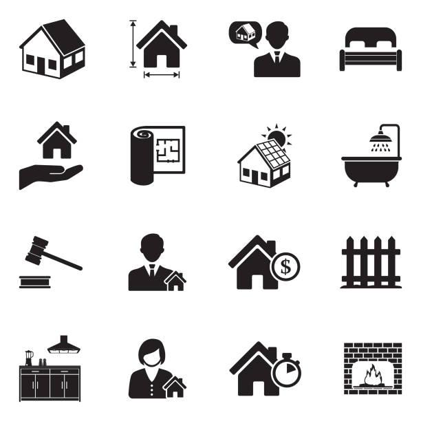 illustrazioni stock, clip art, cartoni animati e icone di tendenza di real estate icons. set 2. black flat design. vector illustration. - real life