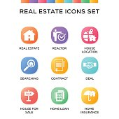 Real Estate Icons Set on Gradient Background