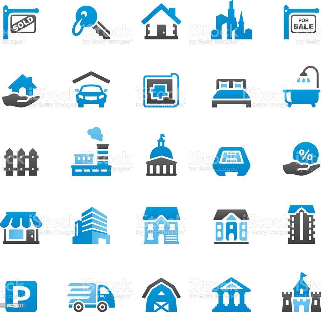 Real Estate icons set vector art illustration