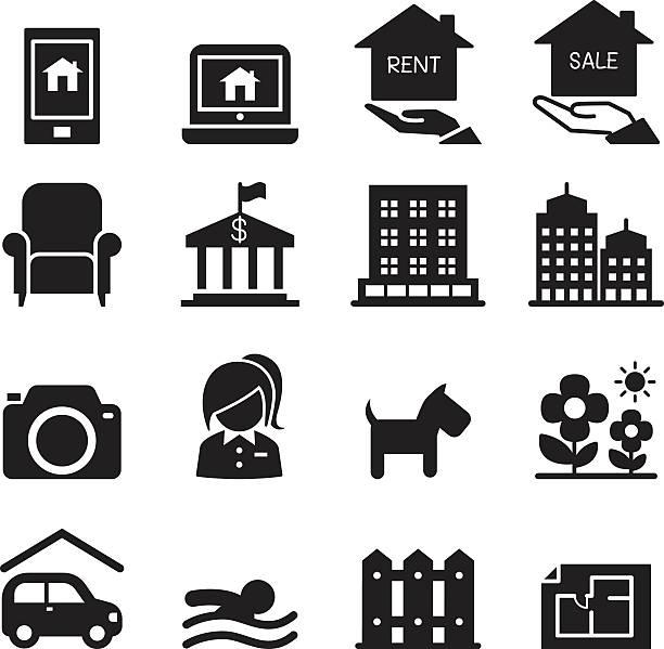 real estate icons set - gartensofa stock-grafiken, -clipart, -cartoons und -symbole