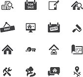 Real Estate icons Silhouette set