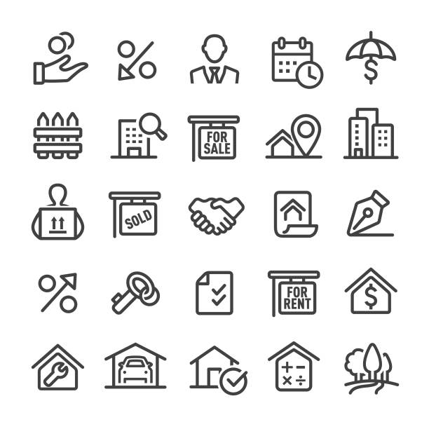 real estate icons - smart line series - sprzedawać stock illustrations