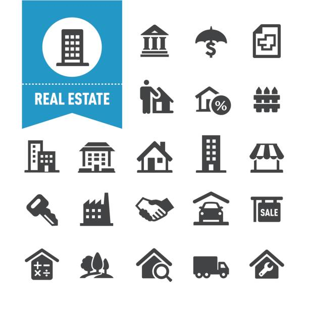 Real Estate Icons - Special Series Real Estate Icons banking drawings stock illustrations