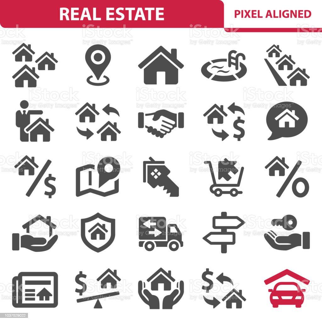 Íconos de inmobiliaria - ilustración de arte vectorial