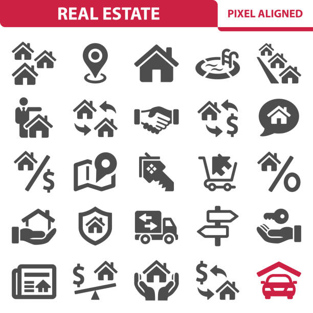 real estate icons - home stock illustrations
