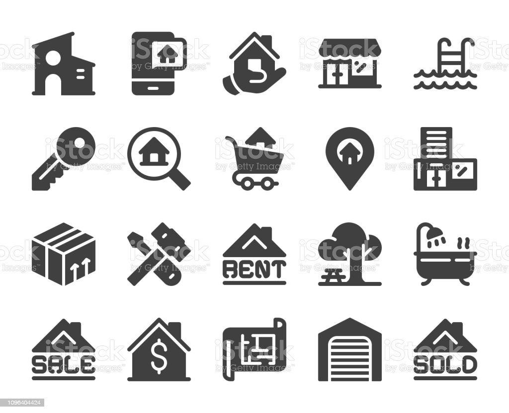 Real Estate - Icons vector art illustration