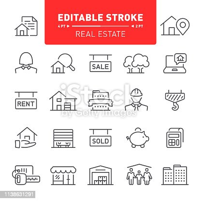 Real estate, mortgage, home ownership, editable stroke, outline, icon, icon set, building, apartment, house