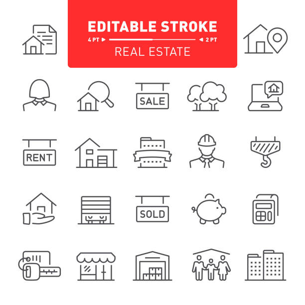 ilustrações de stock, clip art, desenhos animados e ícones de real estate icons - house garage