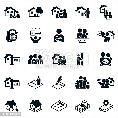 A set of residential real estate icons. The icons include the home buying process and include people searching for a new home, a home, home purchase, real estate agent, real estate agreement, a house for sale, a sold house, a family and a house, home search, and cost associated with the buying process.