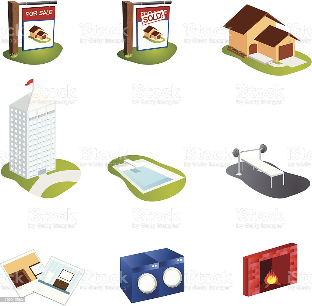 Real Estate Icons royalty-free stock vector art