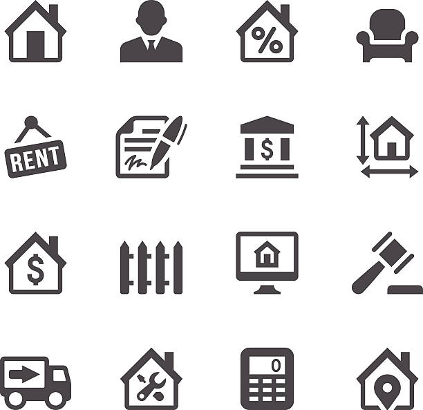 Real Estate Icons Set of 16 real estate vector icons. Easy resize. All objects is layered. lease agreement stock illustrations