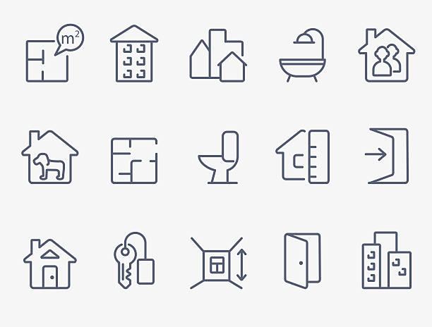 illustrazioni stock, clip art, cartoni animati e icone di tendenza di icone immobiliare - real life