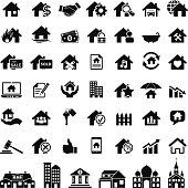 Vector illustration of real estate icons set for your design and products.