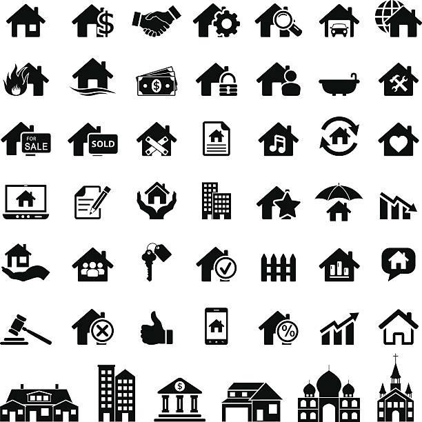 bildbanksillustrationer, clip art samt tecknat material och ikoner med real estate icons - house after fire
