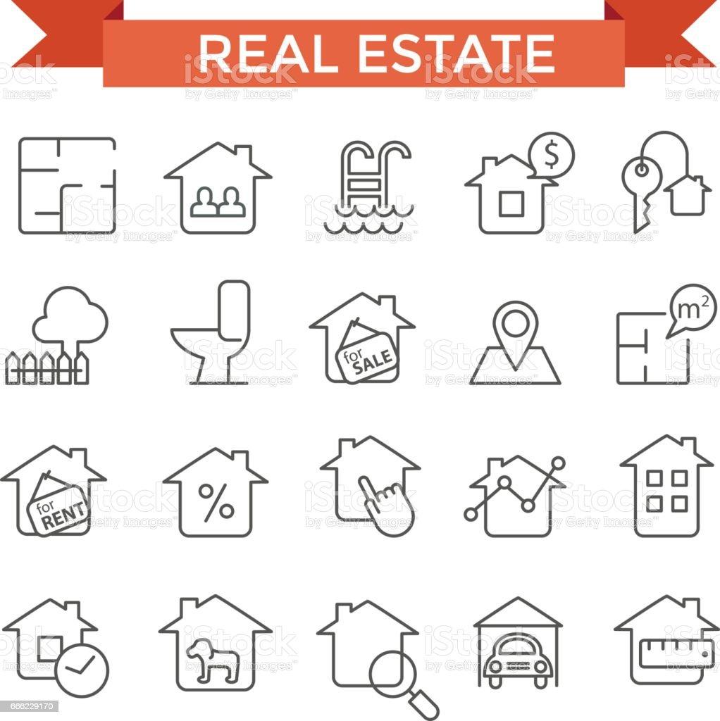 Íconos de inmobiliaria. - ilustración de arte vectorial