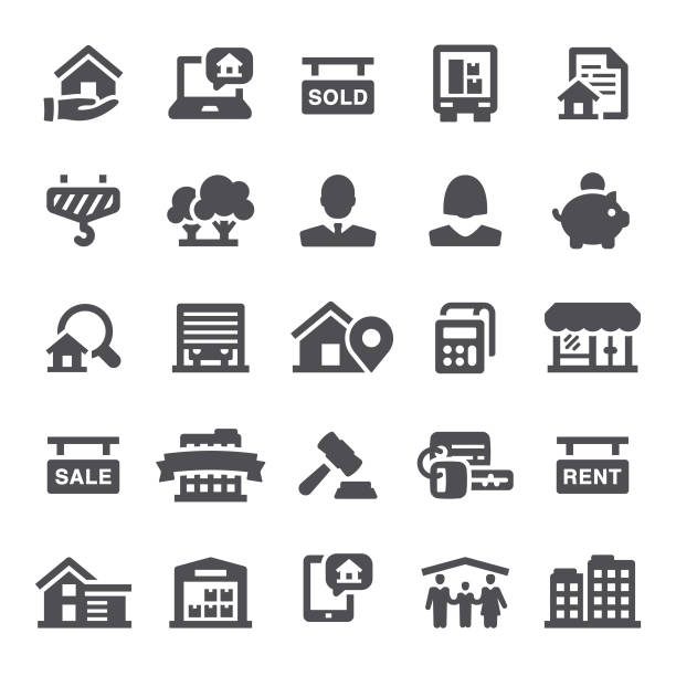 Real Estate Icons Real estate, mortgage, home ownership, icons, building, icon, apartment, house home ownership stock illustrations