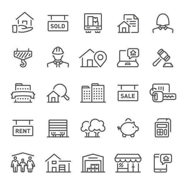 real estate icons - konstrukcja budowlana stock illustrations
