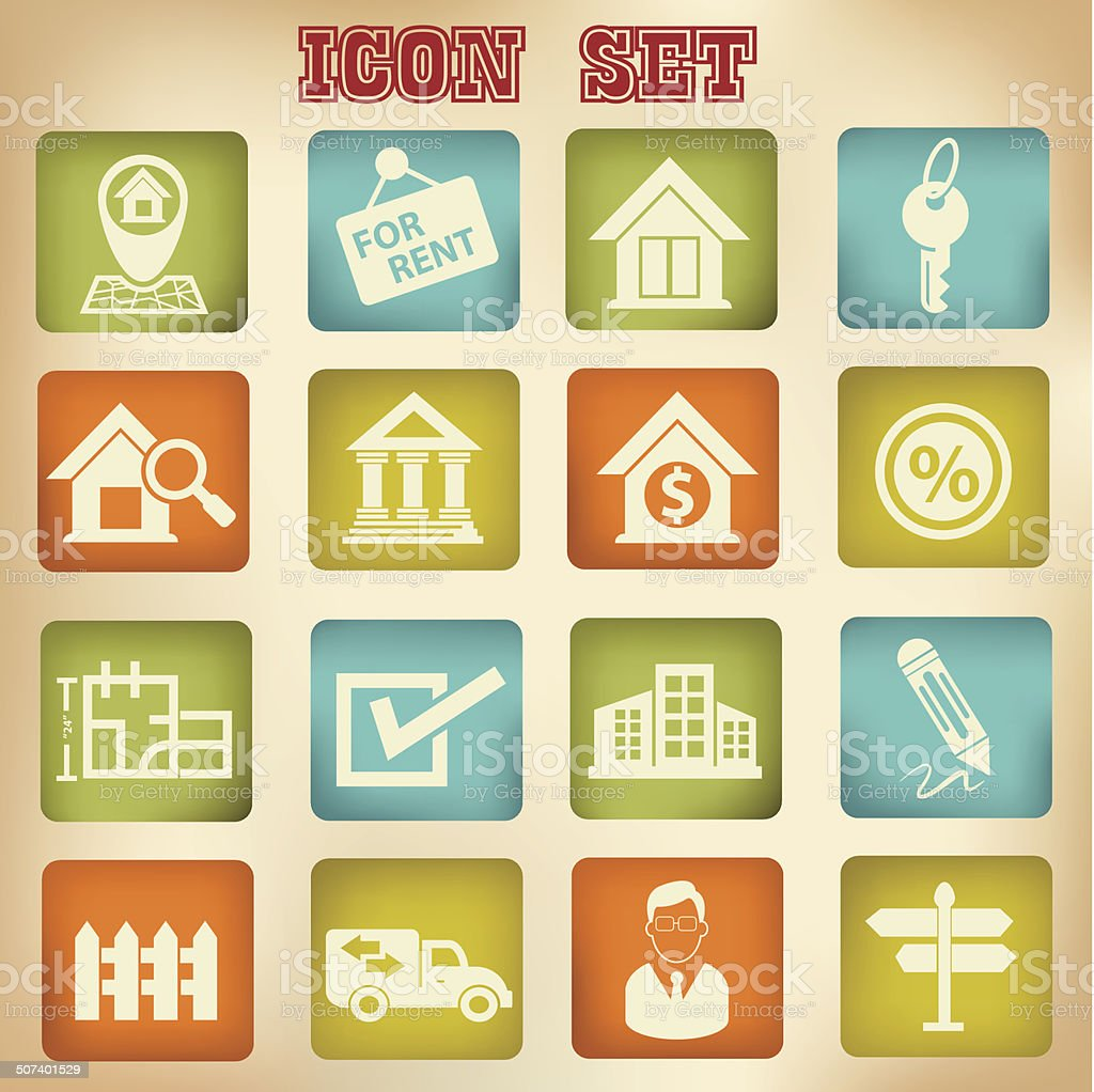 Real estate icons,vintage style,vector vector art illustration