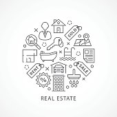 Real Estate illustration with icons in linear style
