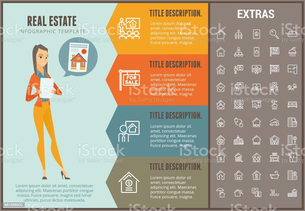 Modelo de infográfico de imobiliário, elementos, ícones - ilustração de arte em vetor
