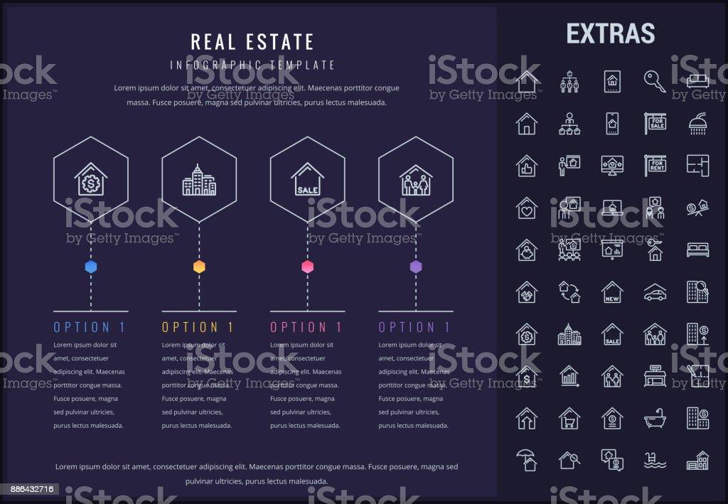 Modèle infographique immobilier, éléments, icônes - Illustration vectorielle