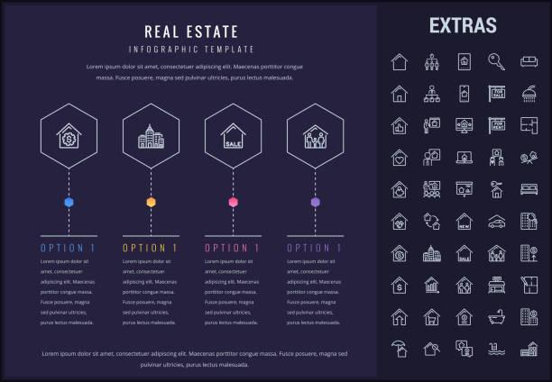 ilustraciones, imágenes clip art, dibujos animados e iconos de stock de plantilla de infografía inmobiliaria, elementos, iconos - corredor de bolsa