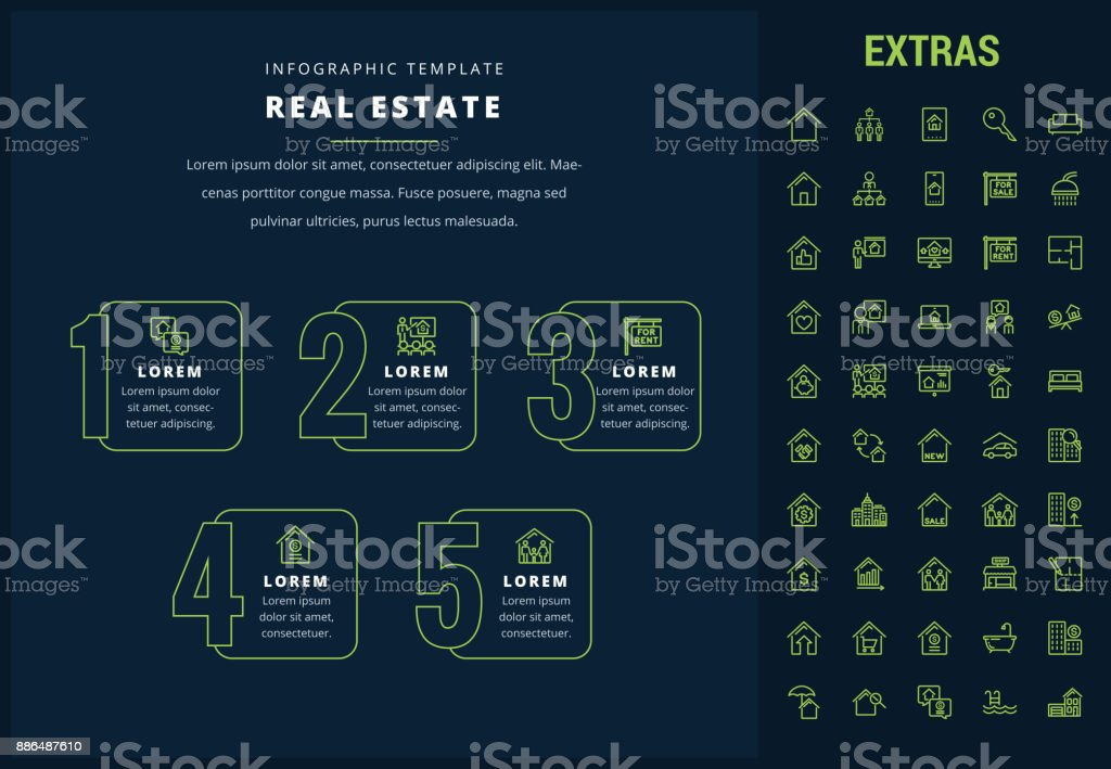 Real estate infographic template, elements, icons vector art illustration