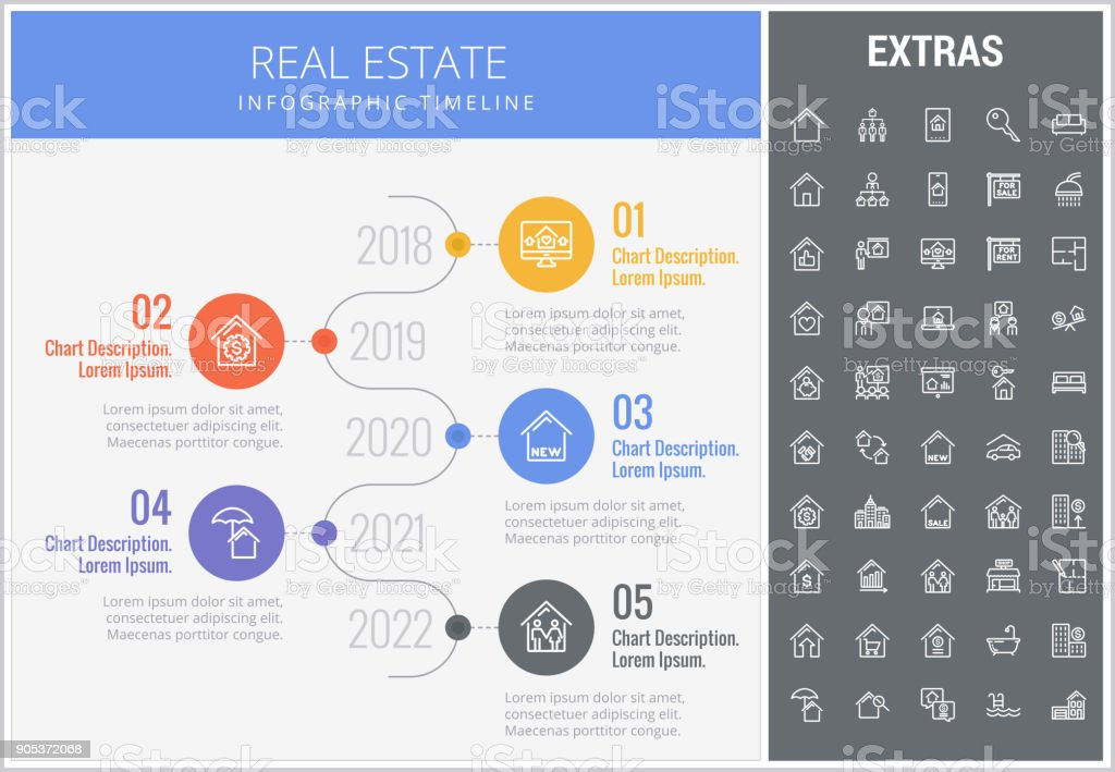 real estate infographic template elements icons stock vector art