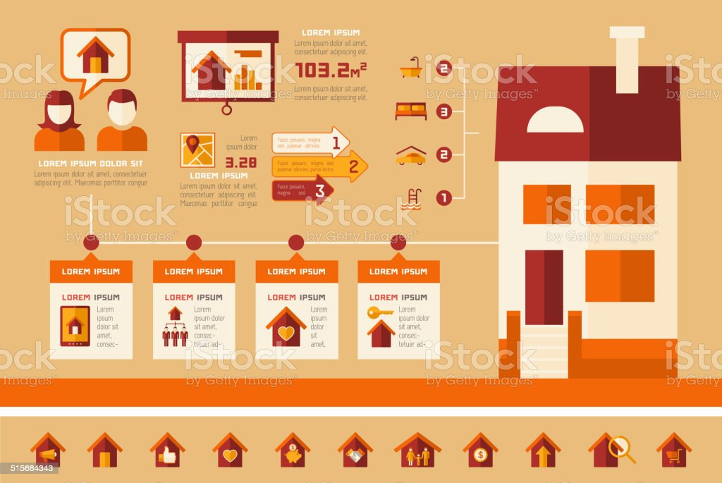 Immobilier infographies. - Illustration vectorielle