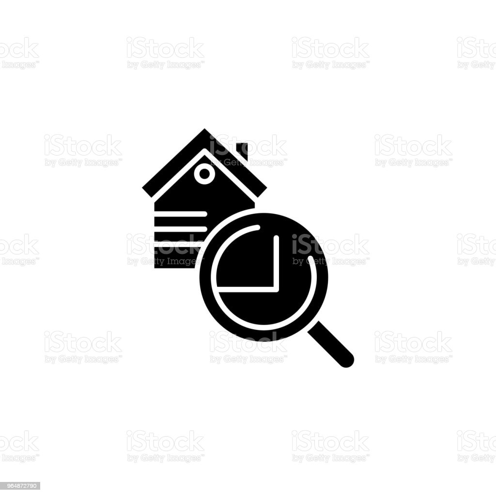 Real estate inspection black icon concept. Real estate inspection flat  vector symbol, sign, illustration. royalty-free real estate inspection black icon concept real estate inspection flat vector symbol sign illustration stock vector art & more images of abstract