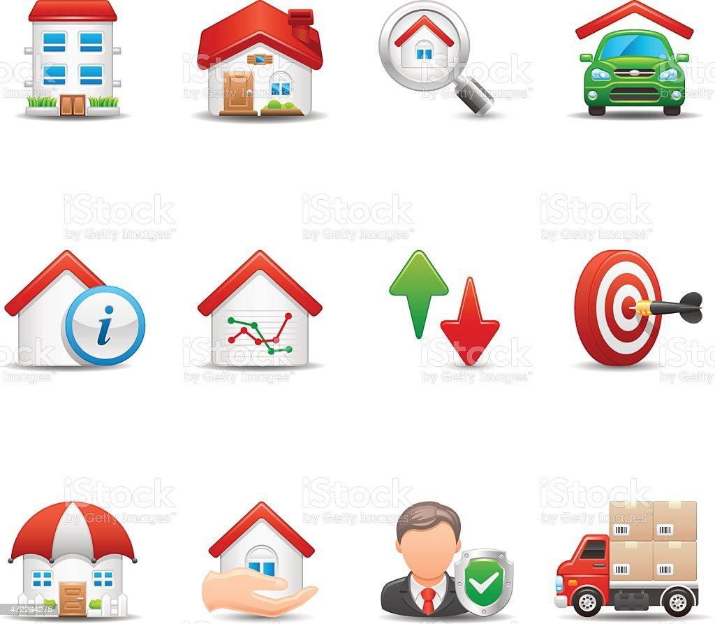 Real Estate & insurance Icon Set | Elegant Series royalty-free stock vector art