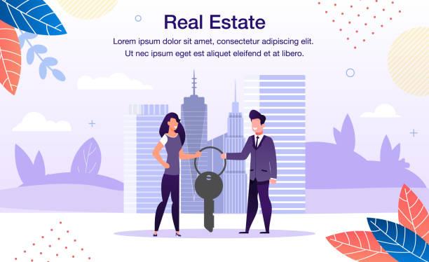 Immobilien Investment Flat Vector Promo Banner – Vektorgrafik