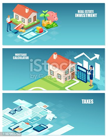 Real estate investment, home buyer costs and taxes calculations banner set concept
