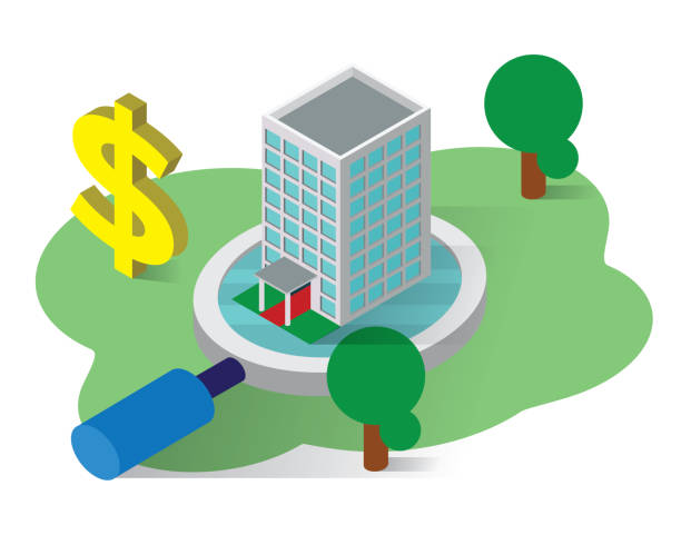 illustrazioni stock, clip art, cartoni animati e icone di tendenza di real estate isometric icons concept,real estate illustration vector - appalti pubblici