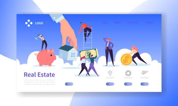 bildbanksillustrationer, clip art samt tecknat material och ikoner med fastigheter målsida. investeringar i boende banner med platt människor tecken köpa lägenheter webbplats mall. enkelt redigera och anpassa. vektorillustration - husägande