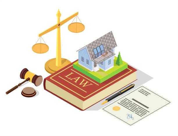 ilustraciones, imágenes clip art, dibujos animados e iconos de stock de ilustración isométrica del concepto de vector del derecho inmobiliario - embargo hipotecario
