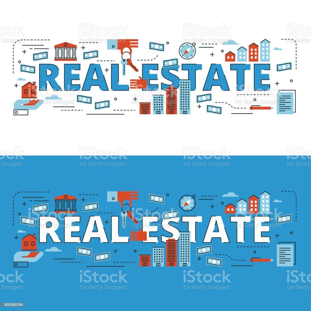 Real estate lettering flat line design