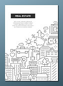 Real estate - vector plain line design brochure poster, flyer presentation template, A4 size layout. Renting, selling houses