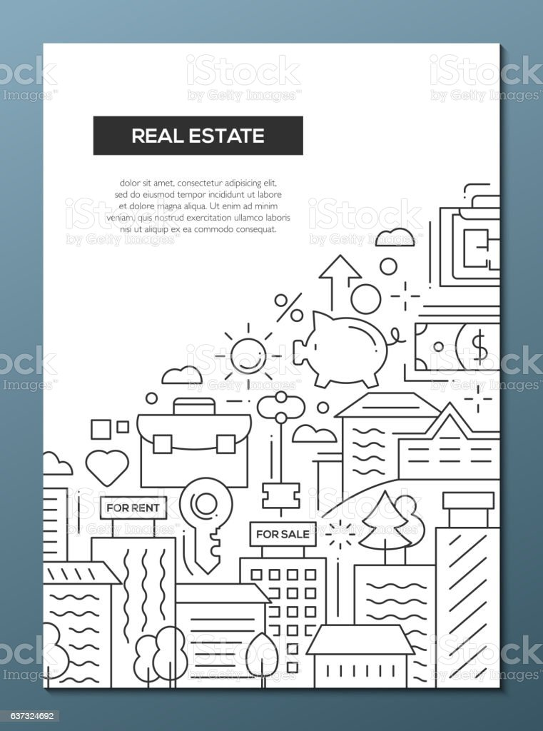 Real Estate - line design brochure poster template A4 vector art illustration