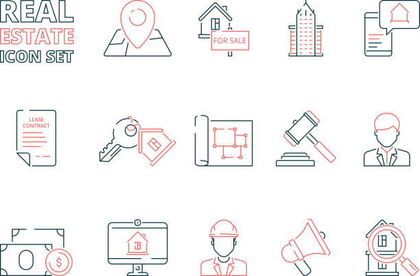 Real estate line icon. Building sale house realty business homeowner vector colored thin symbols Real estate line icon. Building sale house realty business homeowner vector colored thin symbols. Illustration of building realty, house and key illustration lease agreement stock illustrations