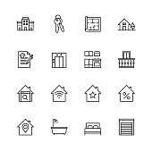 Simple Set of Real Estate Related Vector Line Icons. Contains such Icons as For Rent Sign, Office, Location and more. Editable Stroke.32x32 Pixel Perfect.