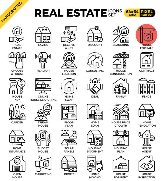 Real estate line icon set vector art illustration