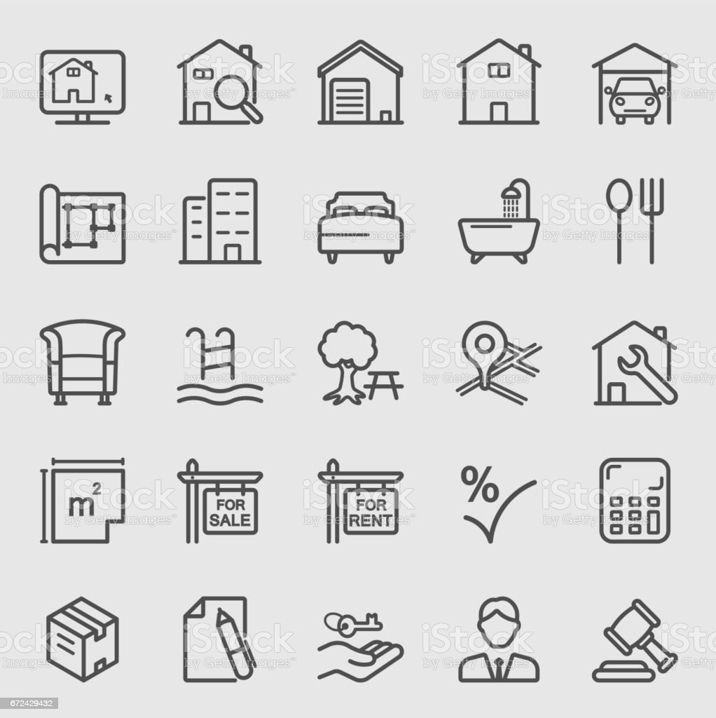 Real estate line icon vector art illustration