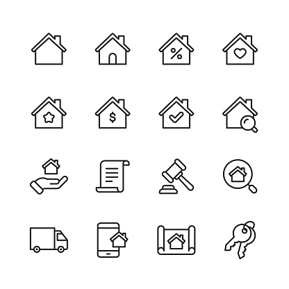 Real Estate Line Icons. Editable Stroke. Pixel Perfect. For Mobile and Web. Contains such icons as Building, Family, Keys, Mortgage, Construction, Household, Moving.