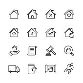 16 Real Estate Outline Icons.
